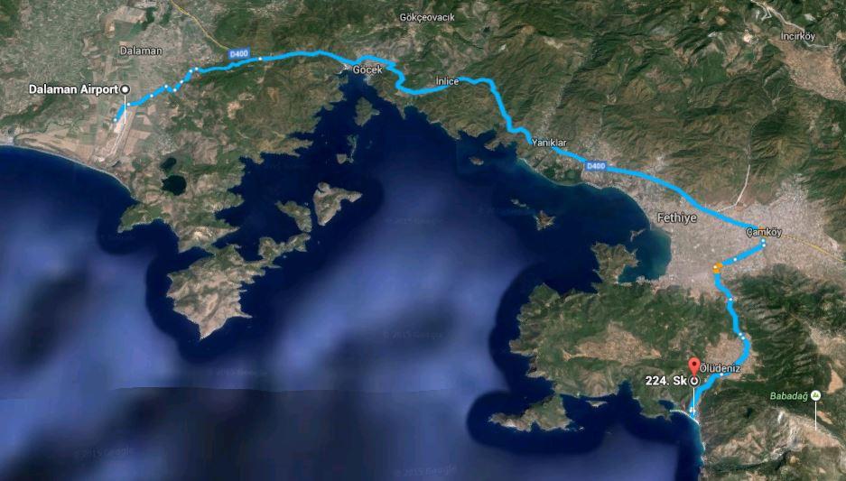 Map Dalaman to Oludeniz